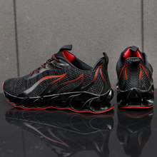 Breathable Running Shoes Men Sneakers Bounce Summer Outdoor Sport Shoes Professional Training Shoes Plus Size 47 Flame pattern(China)