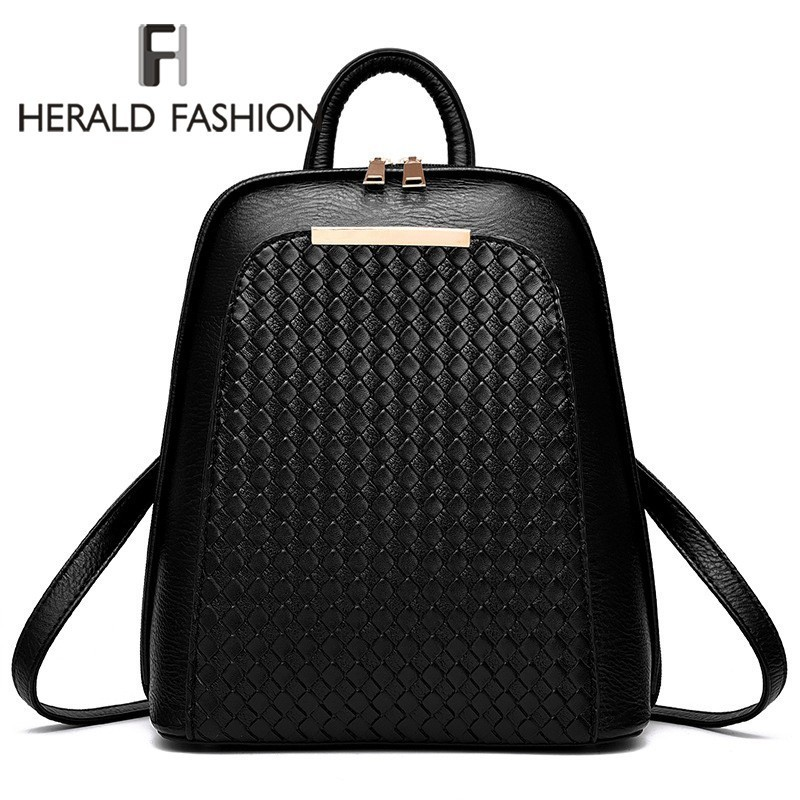Herald Fashion Ladies Backpack Shoulder Bag Women School Backpacks Schoolbag For Teenagers Students PU Leather Backpack Mochila