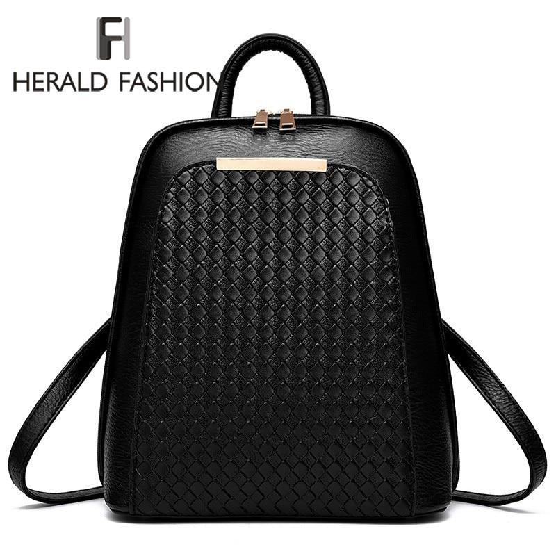 Herald Fashion Ladies Backpack Shoulder Bag Women School Backpacks Schoolbag For Teenagers Students PU Leather Backpack Mochila