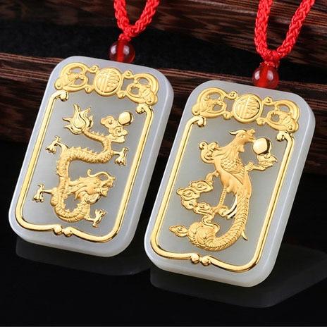2018 Прямые продажи Бросился круг Буда кулон с К 24 K драконы и Phoenixes ожерелье Wek jin пары с оптовая продажа