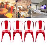 4pcs Retro Industrial Style Iron Sheet Chair Black Home Restaurant Chair Bar Chair