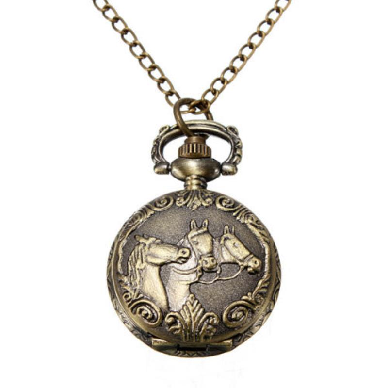 Shellhard 1pc Antique Bronze 3 Horses Case Engraved Quartz Pocket Watch With Necklace Chain Pendant Jewelry Gift  For Birtday