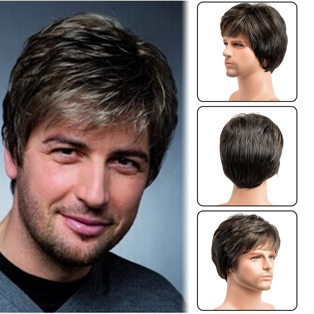Knowledgeable Fashionable Men's Toupee Rug Hairpiece Brown Assorted Cosplay Natural Handsome Hair Wig Sales Of Quality Assurance