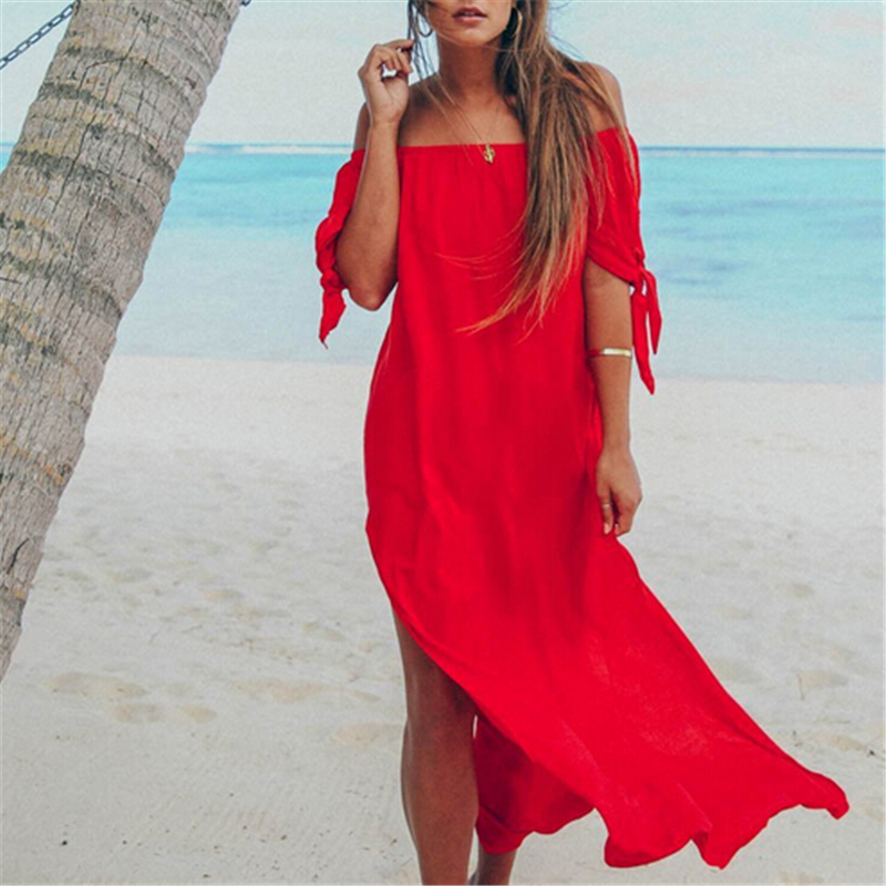 Sexy Women Beach Dresses Off Shoulder Dress Bathing Suit Cover Ups Bikini Beach Coverups For Women Swim Dress Swimsuit Cover Up