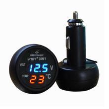 12V USB Car-charger Adapter Auto LED Display Digital Temperature Voltage Volt Meter Monitor Gauge Tester Voltmeter Thermometer