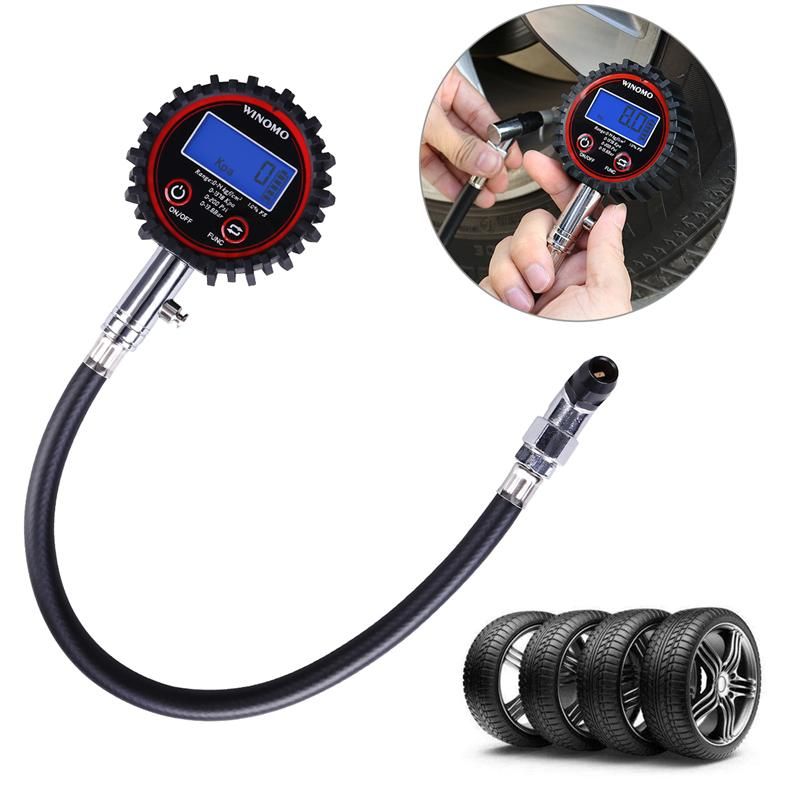Universal Digital Tire Pressure Gauge 200 PSI With Blue Backlight LCD Display Wheels Parts Tire Pressure Monitor Systems