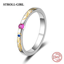 Strollgirl new arrival authentic 925 sterling silver Ring inlaid with purple color Cz diy design fashion jewelry for women