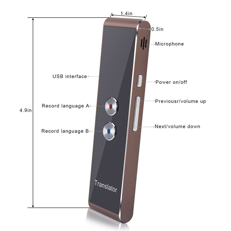 DOITOP Universal Multi Language Voice Bluetooth Translator Speech Text Translation Device with APP for Business Travel Shopping image