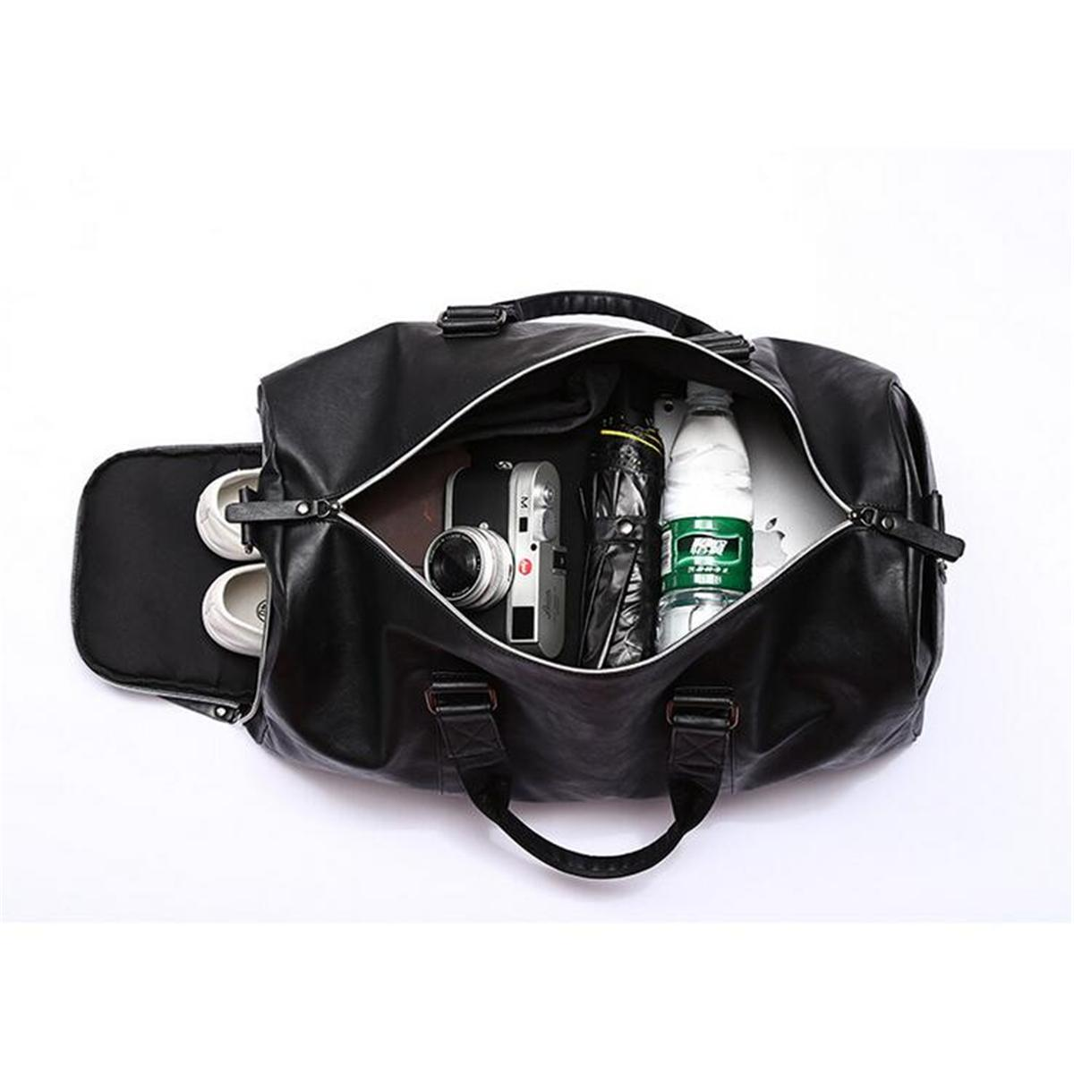 86839e46a5 AEQUEEN Black Men Travel Duffle Bags Waterproof PU Leather Handbags  Shoulder Bag For Women Man Totes Large Capacity Weekend Bag-in Travel Bags  from Luggage ...