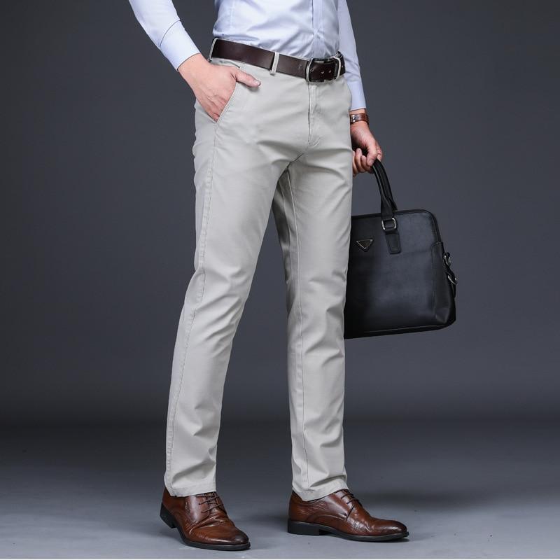 Mens Classic Trousers Black Summer Dress Pants Male Cotton Straight Fit Trousers Office Suit Work Pants Stretch Casual Pants Men
