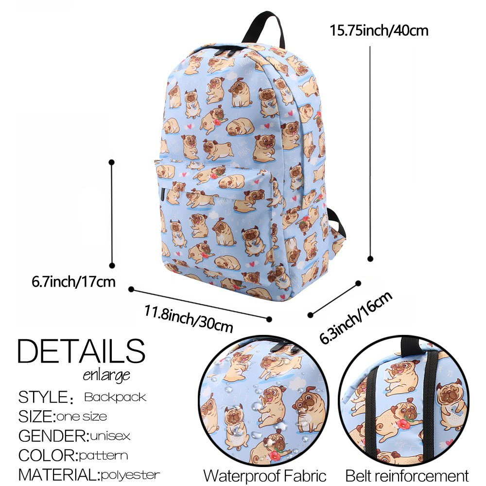 Image 5 - Deanfun Backpack for Girls Cute Pug Flower Water Resistant Heart Blue Backpacks Teenage School Bag Gift  80047-in Backpacks from Luggage & Bags