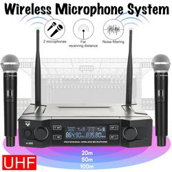 UHF Wireless Microphone System 2 Channel 2 Cordless Handheld Mic Kraoke Speech Party supplies Cardioid Microphone Professional