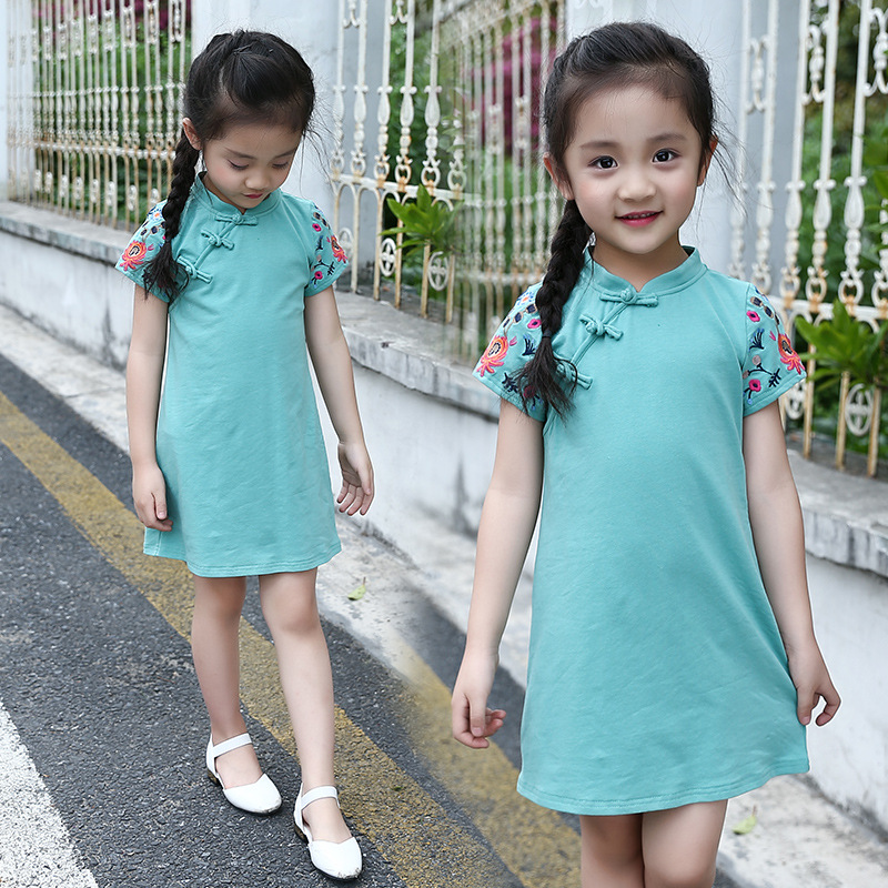 Children's clothing summer new simple and elegant solid color embroidered cheongsam Chinese style ladies and girls dresses