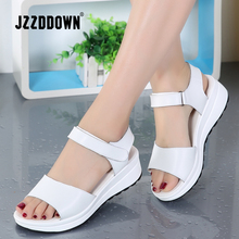 Sandalias de piel auténtica para mujer, zapatos de plataforma para mujer, zapatillas de deporte blancas, zapatos de punta abierta, calzado de tacón alto de moda 2018