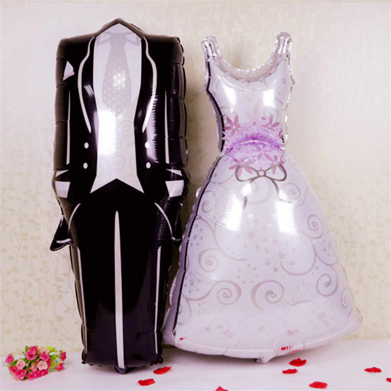 2019 1PCS Aluminum Foil Balloon Groom Bride Wedding Dress Shape Wedding Confession Marriage Party Decoration Wedding Balloon