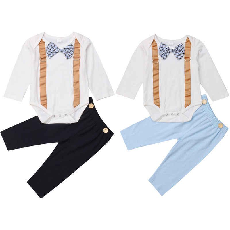 Pudcoco 高品質ファッション幼児ベビーボーイ結婚式フォーマルなスーツレジャーため紳士ボウタイロンパースパンツ衣装セット