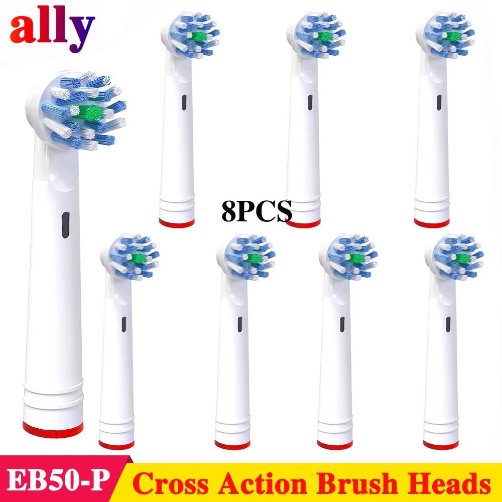 8XEB50 Cruz Ação cabeças escova de dentes Para Braun Oral B Vitalidade Triumph PRO 500 550 600 650 700 750 800 Elétrico cabeças escova de dentes