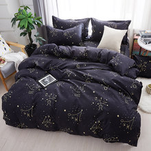 Home Textile Galaxy Star Bed Linen Constellation Duvet Cover Bedding Set Twin Full Queen King Size Pillowcases Bed Sheet59(China)