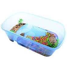 Aquarium Transparent Turtle Breeding Box Reptile Perched House With Drying Platform For Brazilian Tortoise Water Tank