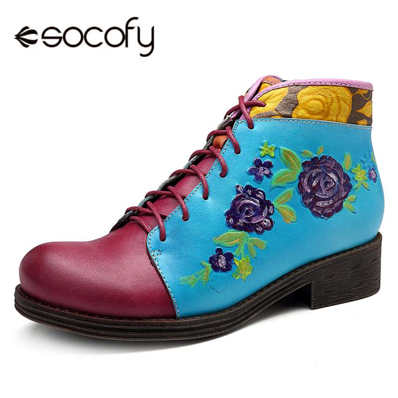 Socofy Flower Genuine Leather Women Boots Vintage Casual Shoes Woman Sneakers Zipper Bohemian Ankle Boots Motorcycle Booties NewSocofy Flower Genuine Leather Women Boots Vintage Casual Shoes Woman Sneakers Zipper Bohemian Ankle Boots Motorcycle Booties New