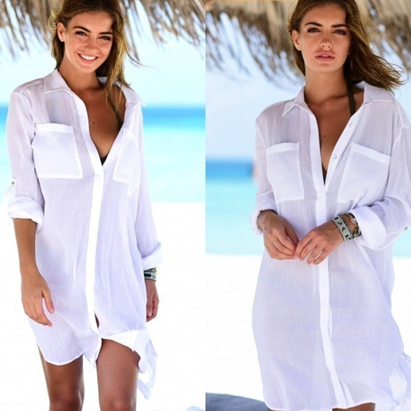 Chiffon Beach Cover up Saida de Praia Beach dress plus size 2019 Swimwear kaftan Bikini cover up Bathing suit Cover ups Tunics(China)