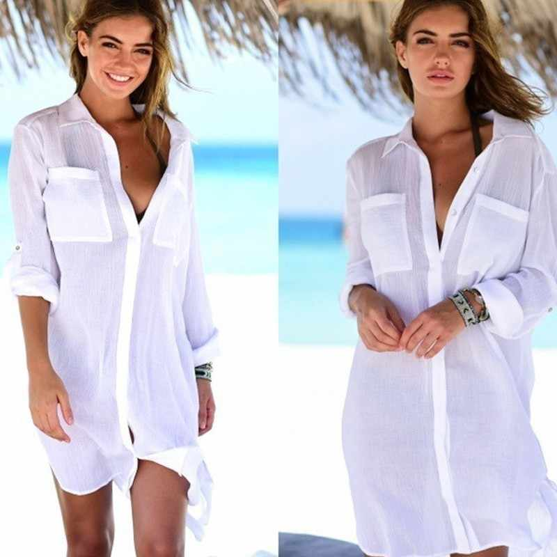 Chiffon Beach Cover Up Saida De Praia Beach Gaun Plus Ukuran 2019 Baju Renang Kaftan Bikini Cover Up Baju Cover up Tunik