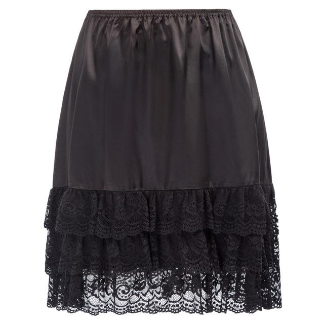 fc581c9c8f1 GK black white Women Smooth   Comfortable Satin skirt Elastic Waist 3 Tiers Lace  ruffle Hem Skirts underskirt petticoat ladies-in Skirts from Women s ...