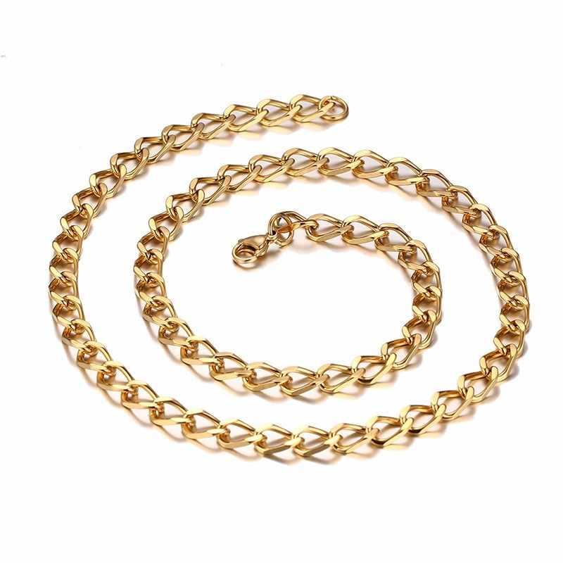 Solidny stalowy łańcuch naszyjnik w kolorze złotym Link kobiety akcesoria dla mężczyzn biżuteria Punk Hop Boy