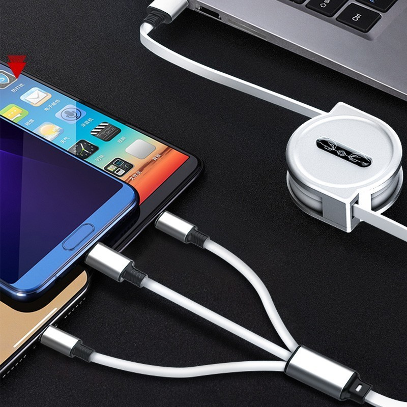90PAI Quick Charge 3-in-one Speed Up 60% Retractable Charger Charging USB Cable For Micro USB For iphone For USB Type-C Hot Sale