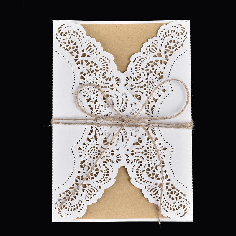 10PCS Hollow Laser Cut Wedding Invitations Card Personalized Custom with Envelope & Seals Wedding Party Decoration