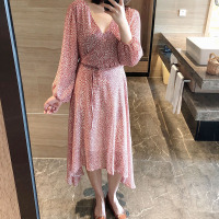 Mooirue Spring 2019 Woman Dress Flower Dot Casual Korean Thin Pink Blue Irregular Loose Female Beach Dress