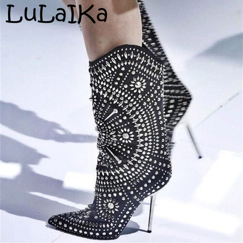 Fashion Rivet High Heel Boots Women Metal Thin Heel Winter  Sexy Rhinestone Shining Pointed Head Party Ballroom ShoesFashion Rivet High Heel Boots Women Metal Thin Heel Winter  Sexy Rhinestone Shining Pointed Head Party Ballroom Shoes