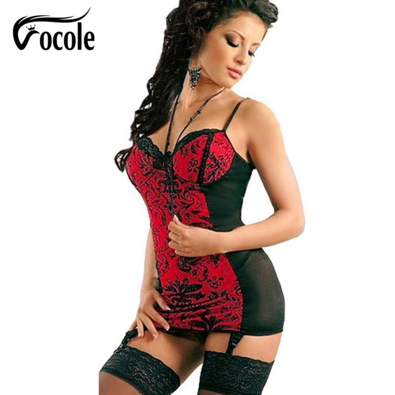 Woman Sexy Erotic Costumes Perspective Lace Babydoll Sling Socks + G-string Erotic Underwear Nightdress
