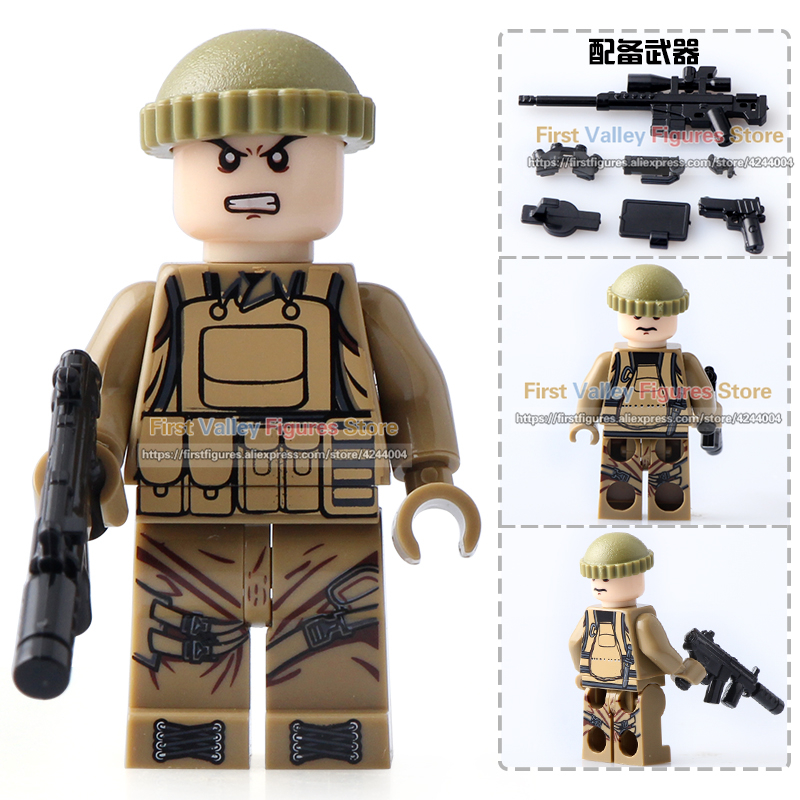 8pcs//lot Military Soldier Figures Building Blocks with Army Weapons Toys Bricks