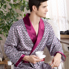Mens Robes Long Sleeve Nightgown Bathrobe Silk Kimono Home Bath Gown Male Printed Geometric