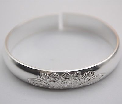 Pure S990 Sterling Silver Lucky 10mm W Smooth Lotus Bangle BraceletPure S990 Sterling Silver Lucky 10mm W Smooth Lotus Bangle Bracelet