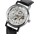 Прозрачные механические часы с скелетом для мужчин  деловые механические наручные часы с ручным заводом  модные часы с кожаным ремешком