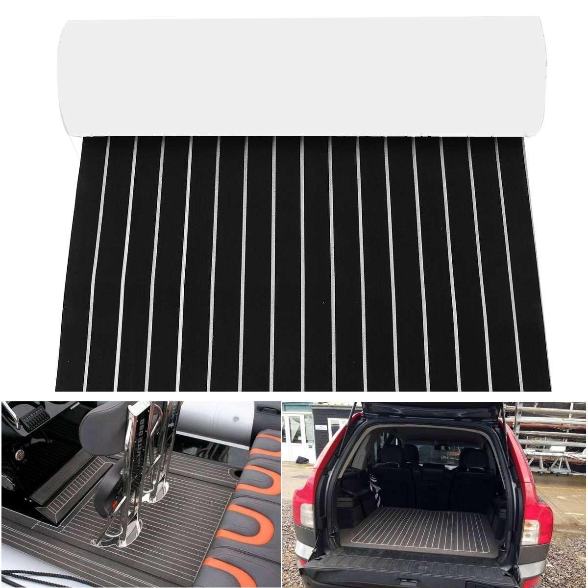 900*2400*6mm auto-adhésif EVA bateau Yacht Marine plancher Faux Imitation teck platelage feuille Pad mousse tapis de sol noir et blanc
