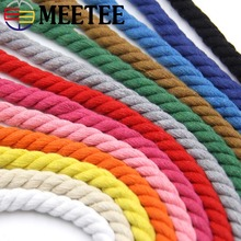 10Meters 12mm 100% Cotton 3 Shares Twisted Cords DIY Craft Decoration Rope For Bag Belt Sewing Accessories