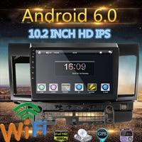 10,2 дюймов двух нить для Android 6,0 автомобиль медиаплеер автомобиля gps MP5 MP3 стерео навигации радио плеер для Mitsubishi Lancer