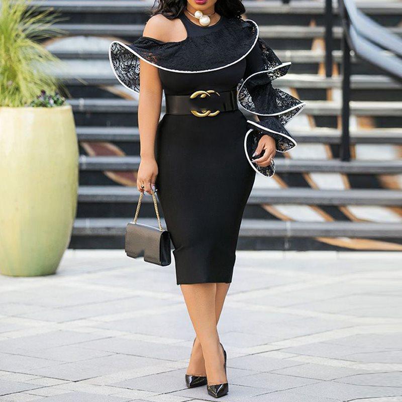 Вечерние облегающие платья женские сексуальные вечерние кружевные на одно плечо с оборкой с длинным рукавом черные тонкие женские летние ч...