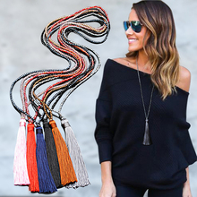 LNRRABC  retro boho style long fringed necklace pendant female models Collier Femme glass beaded crystal bohemian jewelry collar