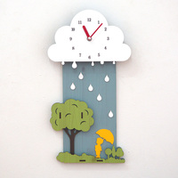 Mute Kids Carton Type Wall Clocks for Living Room Clouds Rainy Day Watches Home Decor Wall Watched Sticker