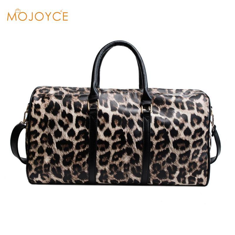 Fashion Women Sling Shoulder Handbag Large Capacity Leopard Crossbody Travel Bags PU Leather Weekend Duffel Messenger Bag
