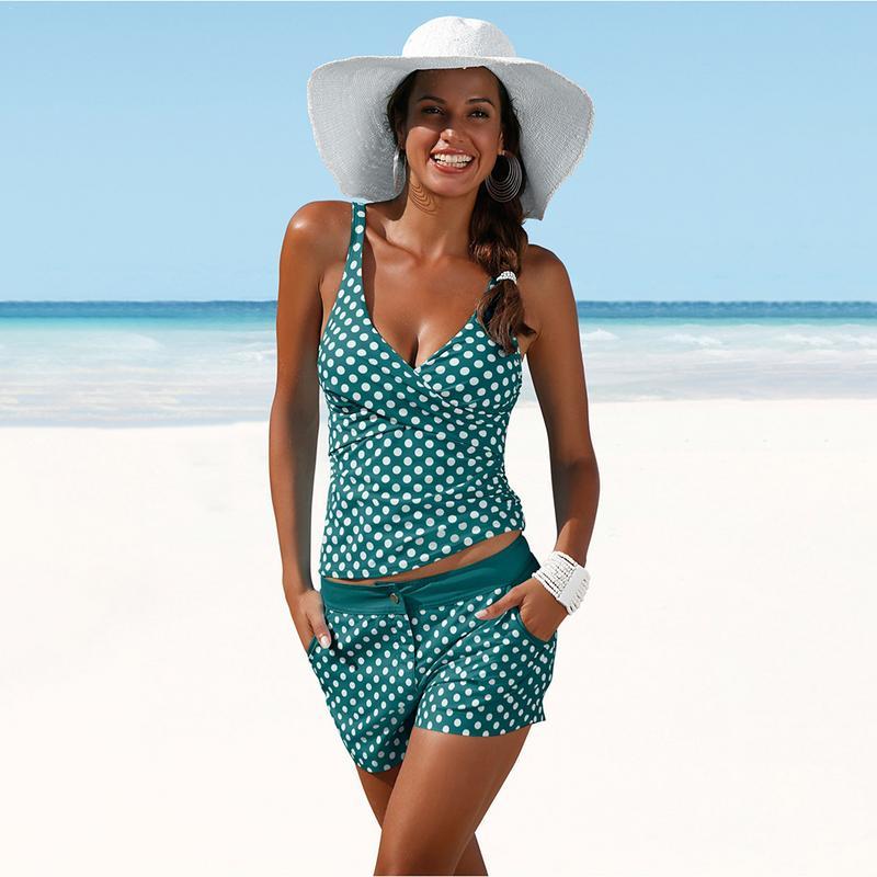 Bikinis Set Tankini With Shorts Swimsuits Women Plus Size Push Up Underwire Polka Dot Vintage Swimwear Bathing Beach Two Piece