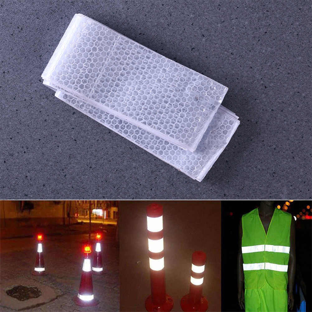 4PCS White Vehicle Reflective Tape Self-Adhesive Reflective Sticker Safety Vehicles Conspicuity Tape Trailers Trucks Warning