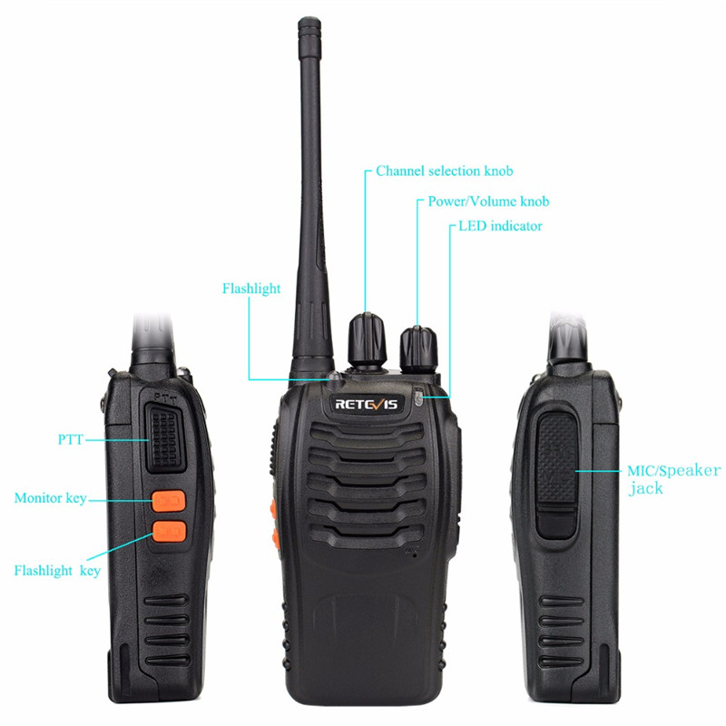 2 Pcs RETEVIS H777 Walkie Talkie EU Plug 400-470MHz Ham Radio Transceiver Two Way Radio Communicator USB Charger Charging Base