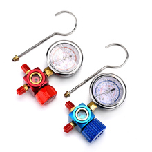 1pc Red Color Aluminum & Stainless Steel Adding Liquid Refrigerant High Pressure Gauge 1/4 For R410A R22 R134A Use RU Warehouse
