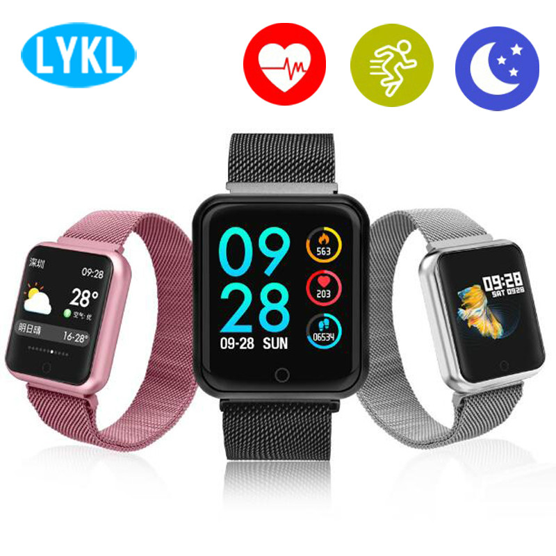 Smart watch P68 band IP68 supports Dynamic heart rate/blood pressure monitor Portable adsorption metal strap fitness bracelet