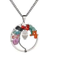 Bohemia Ethnic 7 Chakra Rainbow Life Tree Pendant Cute Animal tiny Owl Necklaces Women Men Healing Reiki Jewelry